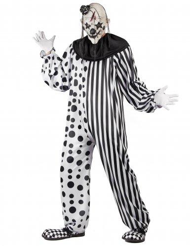 Zwart en wit monsterlijk clown kostuum voor volwassenen-1