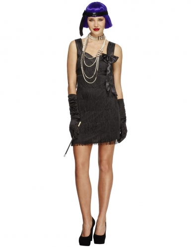 Zwart charleston kostuum met strik voor vrouwen