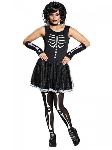 Zwart wit skelet kostuum voor vrouwen