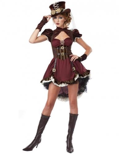 Bordeaux rood Steampunk kostuum voor vrouwen