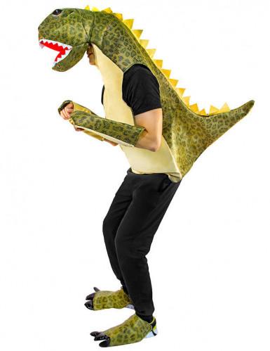Groen gevlekt dinosaurus kostuum voor volwassenen