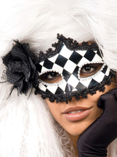 Venetiaans barok schaakbord masker voor volwassenen