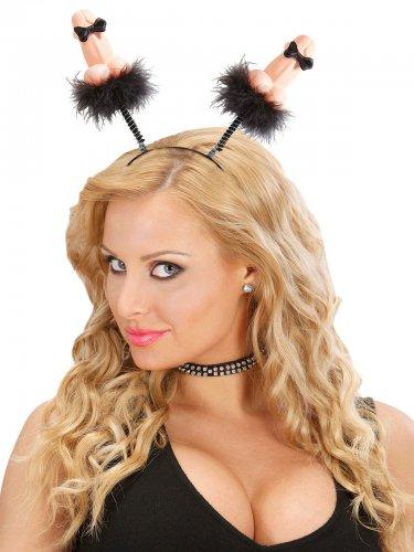 Penis haarband met nepbont voor volwassenen