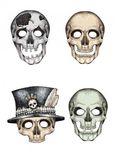 4 kartonnen skelet maskers