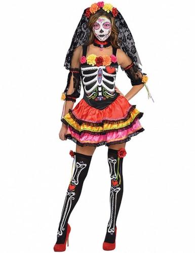 Dia de los Muertos bloemrijk skelet outfit voor dames
