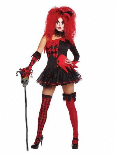 Rood en zwart duivels harlekijn kostuum voor vrouwen