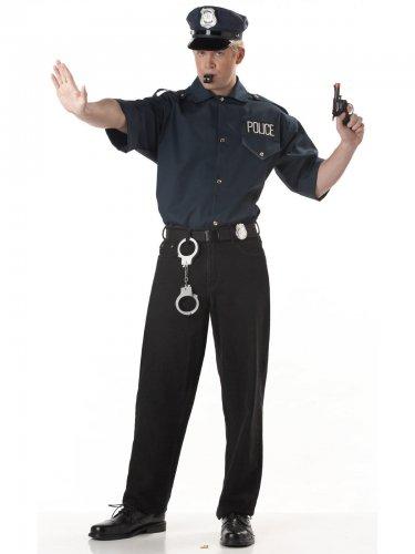 Zwart politie overhemd voor mannen