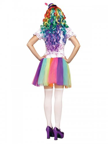 Pastel regenboog clown kostuum voor dames-1