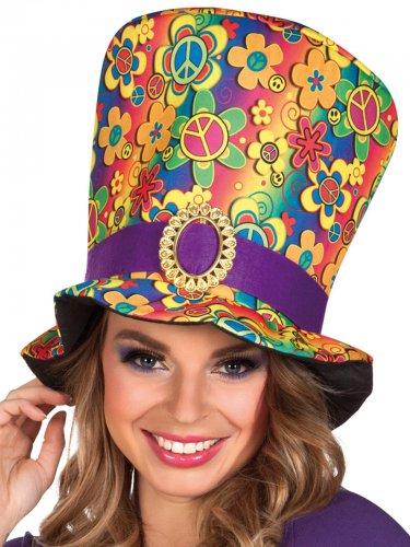 Veelkleurige hippie hoge hoed voor volwassenen