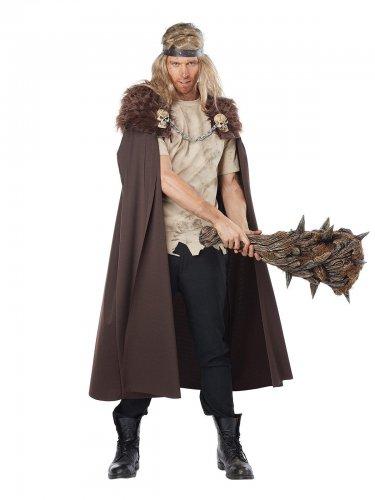Viking strijder cape met nepbont en doodskoppen