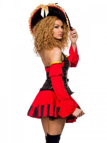 Rood en goudkleurig piraten kapitein kostuum voor dames-1