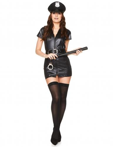 Zwart sexy politie kostuum voor vrouwen