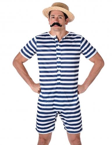 Blauw en wit gestreept retro zwem outfit voor mannen-1