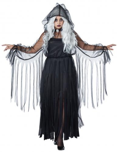 Elegant zwart spook kostuum voor vrouwen - Grote Maten