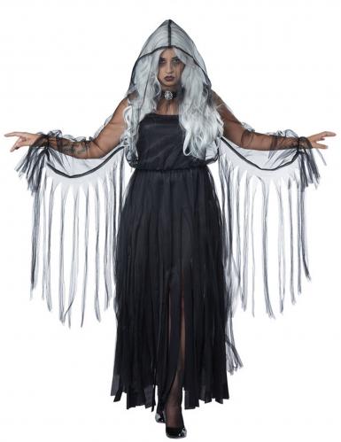 Elegant zwart spook kostuum voor vrouwen - Grote Maten-1