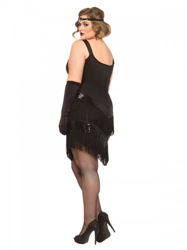 Jaren 20 kostuum met franjes en lovertjes voor vrouwen - Grote Maten-1