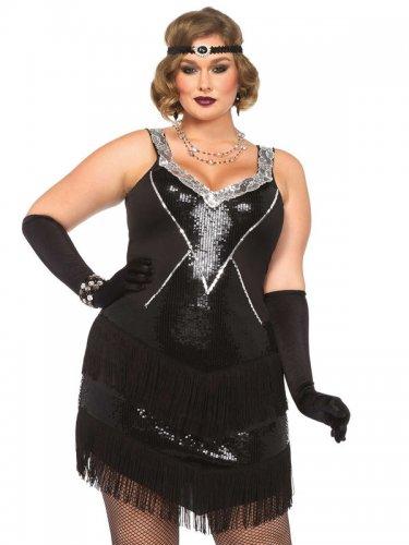 Jaren 20 kostuum met franjes en lovertjes voor vrouwen - Grote Maten-2