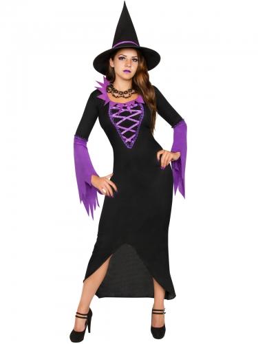 Paars en zwart heksenkostuum voor vrouwen