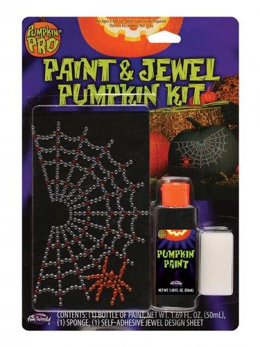 Spinnenweb pompoen sticker decoratie
