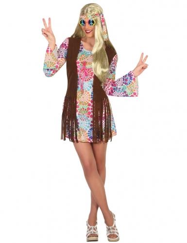 Veelkleurige hippie jaren 60 jurk voor vrouwen