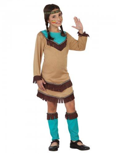 Bruin en blauw indiaan kostuum voor meisjes