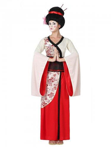 Rood en wit geisha kostuum voor vrouwen