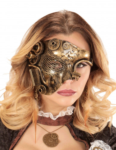 Goudkleurig Steampunk tandwielen half masker voor volwassenen