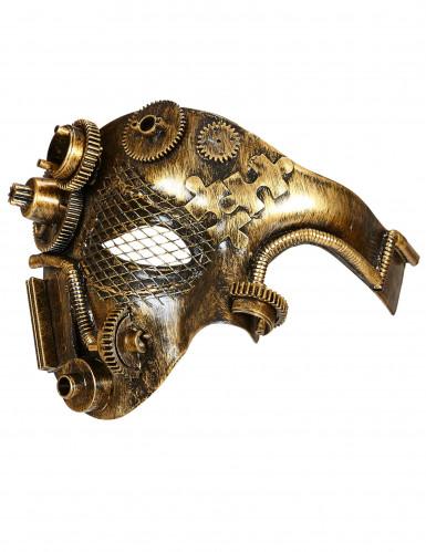 Goudkleurig Steampunk tandwielen half masker voor volwassenen-1