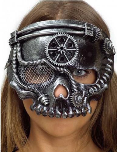 Zilverkleurig Steampunk skelet masker voor volwassenen