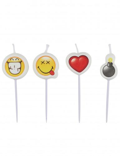 4 kleine Smiley Emoticons™ kaarsjes