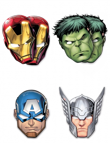 6 kartonnen Mighty Avengers™ maskers