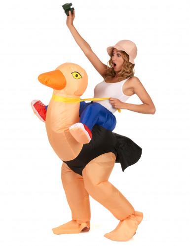 Opblaasbaar struisvogel kostuum voor volwassenen