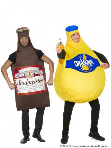 Orangina™ fles en bierfles koppelkostuum voor volwassenen