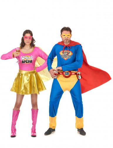 Super Buveur en Miss Apero koppelkostuum voor volwassenen