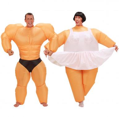 Ballerina en bodybuilder koppelkostuum voor volwassenen