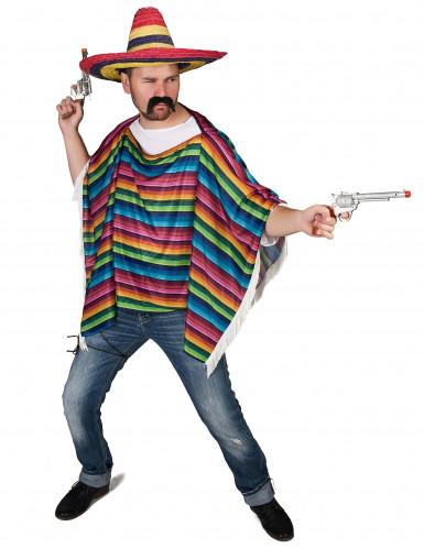 Veelkleurige Mexicaanse poncho met franjes voor volwassenen-1