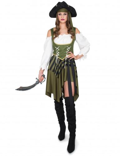 Groen en wit piraten kostuum voor vrouwen-1
