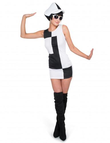 Tweekleurig disco kostuum voor vrouwen