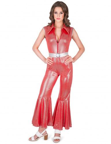 Rood discopak kostuum voor vrouwen
