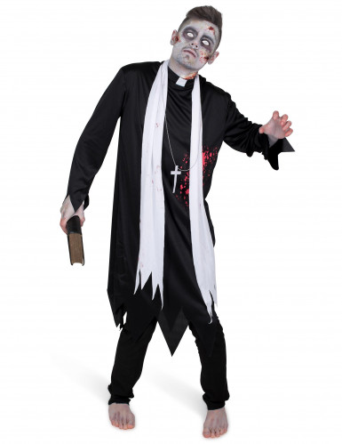 Zwart zombie priester gewaad voor mannen