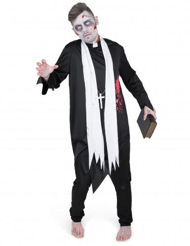 Zwart zombie priester gewaad voor mannen-1