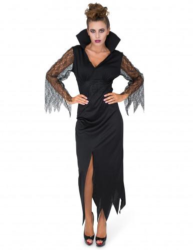 Zwart kanten heksenkostuum voor vrouwen-1
