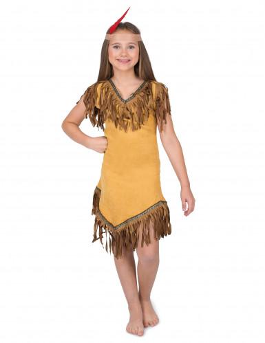 Indianen kostuum met bruine franjes voor meisjes