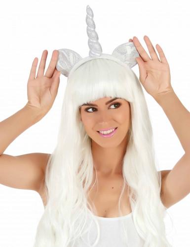 Zilverkleurige eenhoorn haarband voor volwassenen-1