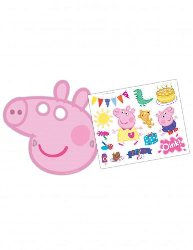 6 kartonnen maskers en stickers Peppa Pig™