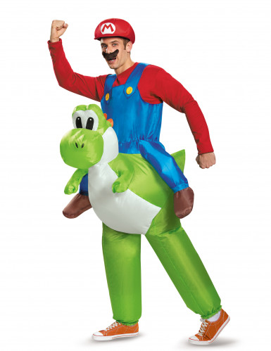 Opblaasbaar Nintendo® Mario op Yoshi kostuum voor volwassenen