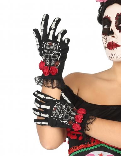 Korte Mexicaanse skelet handschoenen voor vrouwen