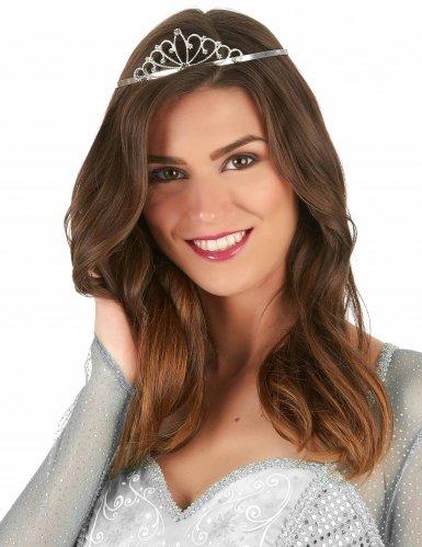 Deluxe zilverkleurige prinses tiara voor volwassenen-1