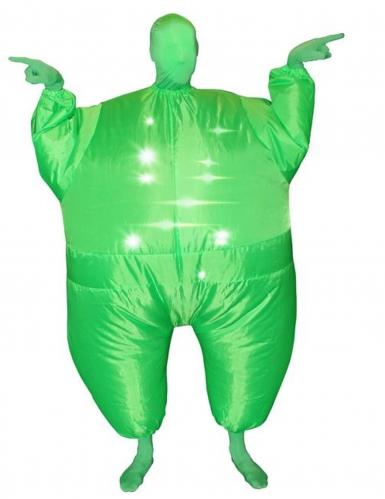 Opblaasbaar lichtgevend groen Morphsuits™ kostuum voor volwassenen