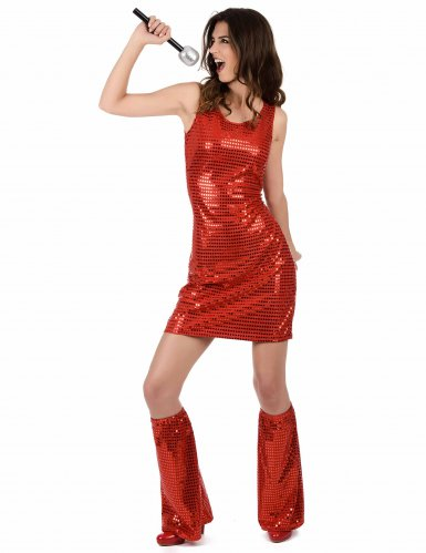 Rood disco kostuum voor dames